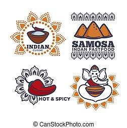 料理, indian, アイコン, 食物, レストラン, 速い, ベクトル