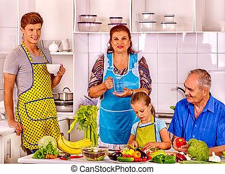 料理, kitchen., 家族, 子供