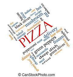 斜め, 概念, 単語, 雲, ピザ