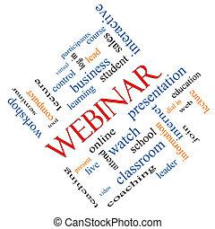 斜め, 概念, 単語, webinar, 雲