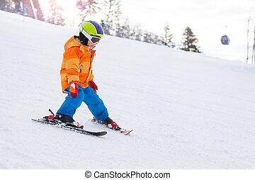 斜坡, 男孩, 鋼盔, 山, 面罩, 滑雪, 滑雪