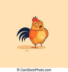 斜視, 特徴, 顔つき, 疑いをもって, 雄ん鶏, 漫画, emoji