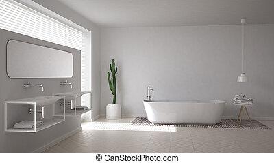 斯堪的納維亞人, 浴室, 白色, minimalistic, 內部設計