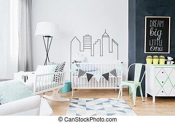 斯堪的納維亞人, inspirations, 做, the, 嬰孩, 房間, cosy, 以及, 時髦