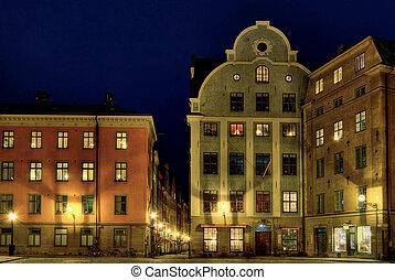 斯德哥爾摩, 古老的城鎮廣場, 在, night.