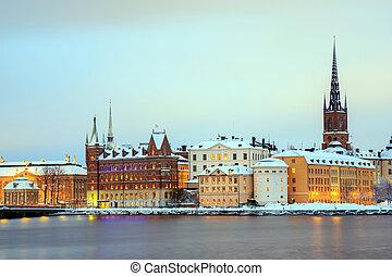 斯德哥爾摩, 城市, 在, 黃昏, 瑞典