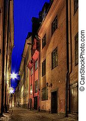 斯德哥爾摩, 老 鎮, 在, night.