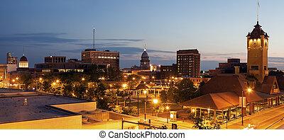 斯普林菲爾德, 全景, 由于, 老和新, 州州議會大廈, 建筑物