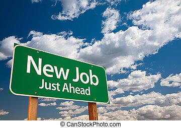 新しい仕事, 緑, 道 印