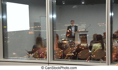 新しい, の後ろ, project., glass.presentation, ビジネス