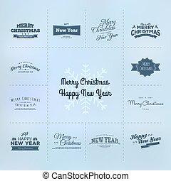 新しい, カリグラフィー, セット, クリスマス, 年