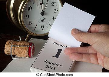 新しい, カレンダー, ページ, 年の