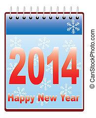 新しい, カレンダー, 幸せ, 年