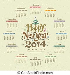 新しい, カレンダー, 幸せ, 2014, 年