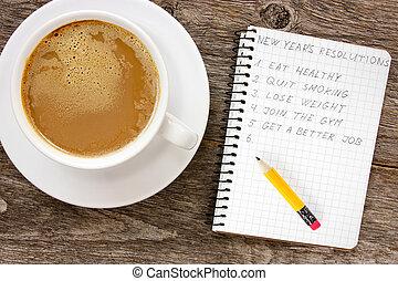 新しい, コーヒー, 年, resolutions, カップ