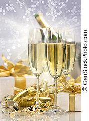 新しい, シャンペン, 祝福, 年