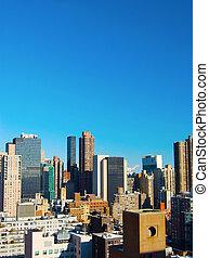 新しい, スカイライン, 航空写真, ヨーク, 都市