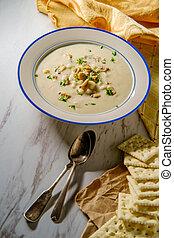 新しい, ハマグリ, スープ, チャウダー, イギリス\