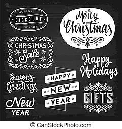 新しい, バッジ, 挨拶, クリスマス, 年