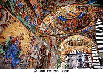 新しい, フレスコ画, 神聖, rila 修道院