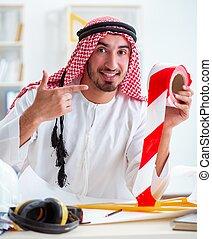 新しい, プロジェクト, エンジニア, アラビア人, 仕事