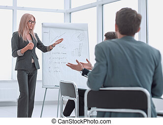 新しい, プロジェクト, 作り, プレゼンテーション, 女性実業家