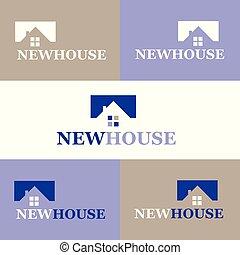 新しい, ベクトル, ロゴ, イラスト, 家