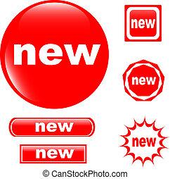 新しい, ボタン, 網, グロッシー, アイコン