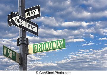 新しい, マンハッタン, broadway, ヨーク, 印