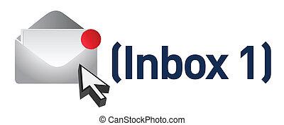 新しい, メッセージ, conc, 電子メール, inbox
