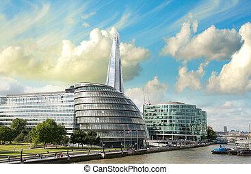 新しい, ロンドン, 市役所, ∥で∥, テムズの 川, パノラマの光景, から, タワー橋, -, イギリス