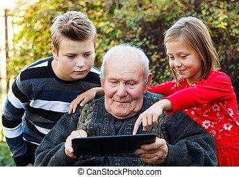 新しい, 何か, 勉強, 祖父