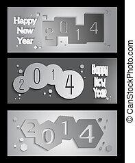 新しい, 創造的, イラスト, 年, 2014, 旗, 幸せ