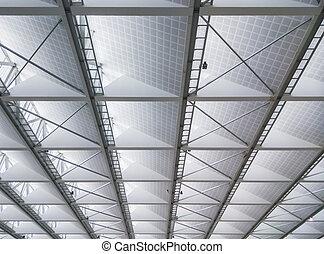 新しい, 天井, 現代, オフィス, 建物。