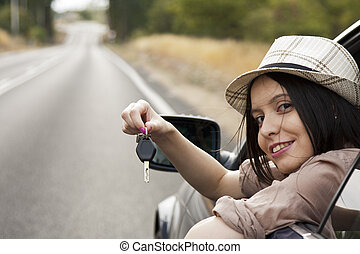 新しい, 女の子, キー, 自動車