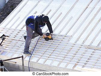 新しい, 屋根, 木, 屋根職人, 仕事