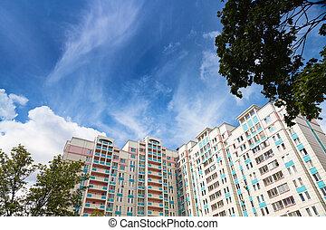 新しい, 市家, 下に, 青い空
