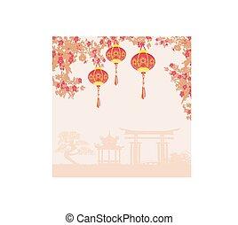 新しい, 年, 中国語, デザイン