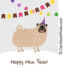 新しい, 幸せ, 犬, カード, 年