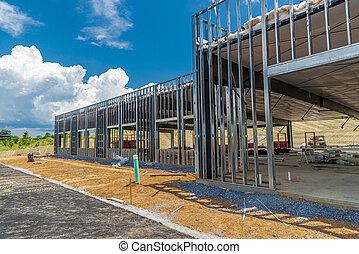 新しい, 建物, 下に, フレームワーク, コマーシャル, 金属, 建設