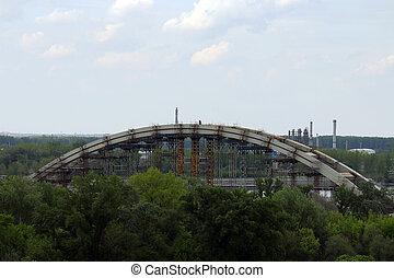 新しい, 建設, 弧, サイト, 橋