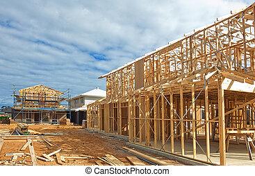 新しい, 建設, 枠組み, 家