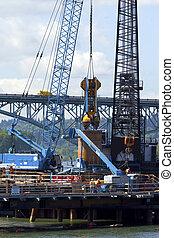 新しい, 建設, bridge., サイト