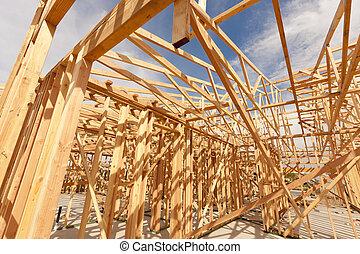 新しい, 抽象的, 建設, 枠組み, 家