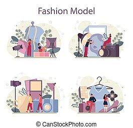 新しい, 概念, ファッション, 人, 衣服, 表しなさい, モデル, 女, set.