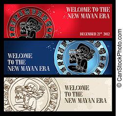 新しい, 歓迎, 旗, mayan, 時代