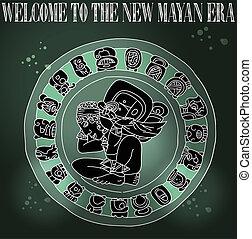 新しい, 歓迎, mayan, 時代