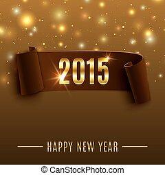 新しい, 現実的, 背景, 年, 2015, 曲がった, 祝福, リボン, 幸せ