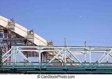 新しい, 産業, 建築現場, 橋
