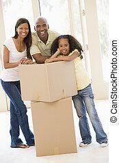 新しい, 箱, 微笑, 家 家族